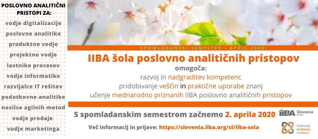 IIBA šola poslovno analitičnih pristopov - spomladanski semester